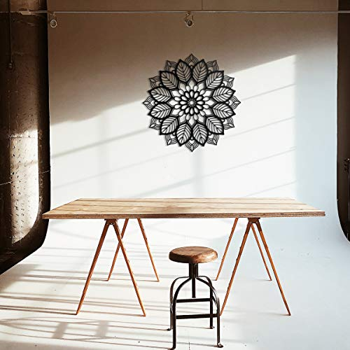 ODUN ARTS - Mandala - Cuadros Decorativos de Madera - Decoración de Pared - 65 cm de diametro X 1 cm de Espesor - Negro