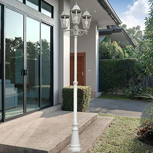 Gartenlaterne Kandelaber Laterne Außenleuchte Stehleuchte Gartenleuchte, LED 3x 10 Watt, ALU Glas, Weiß, H 220 cm