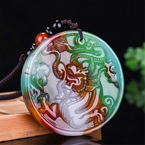 QWXINXING Collar Cadena Xinjiang Gobi Natural Seda Dorada Jadeíta Luc