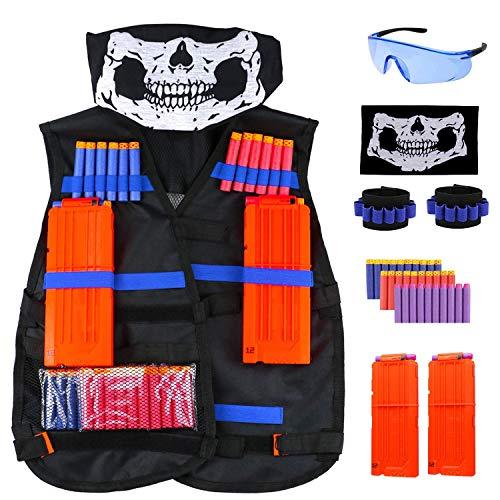 RATEL Taktische Weste Kit für Kinder, Taktische Weste Jacke Set mit 1Taktische Weste, 30Pcs Darts Bullets, 2Pcs Reload Clips, 2Pcs Handgelenk, Gesichtsmaske & Brille(37pcs)