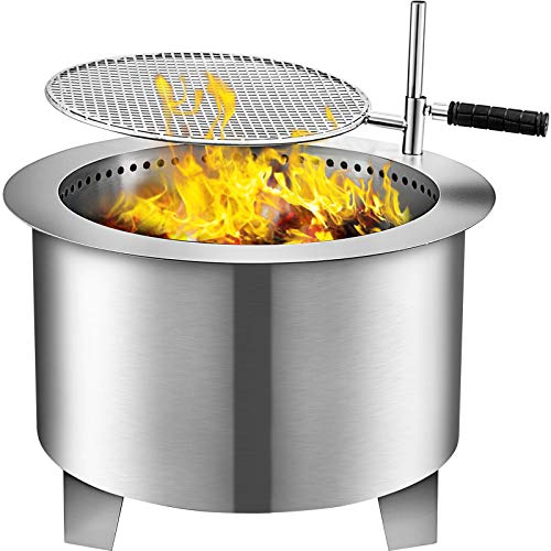 VBENLEM Smokeless Fire Pit, 22 Inch Bonfire Fire Pit Stainless Steel Wood Burning Fire Pit, Patio Fire Pit with Detachable Grill, Outdoor Fire Pit for Backyards and Camping Park