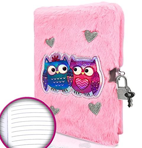 EverCreatives Eule Plüsch Mädchen Tagebuch mit Schloss und 2 Schlüsseln, rosa Kinder Plüsch Tagebuch flauschiges Schreiben Notizbuch in A5 20x14cm 160 linierte Seiten für Mädchen und Jungen