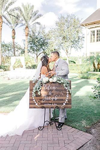 Fhdang Decor personalisiertes Hochzeitsschild, personalisiertes Hochzeitsdatum und Namen, rustikales Holzschild für Hochzeit, Holzschild
