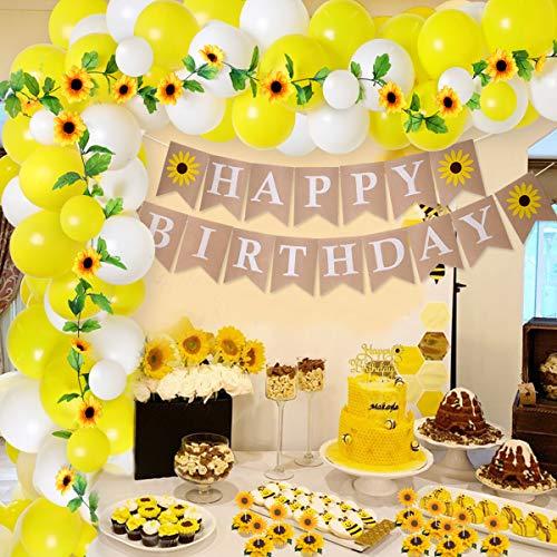 Decoraciones para fiesta de cumpleaños de girasol Kit de arco de guirnalda de globos para niñas Mujeres Flores artificiales de girasol Guirnalda de decoración para tarta para Baby Shower de girasol 🔥