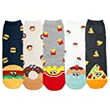 YourFeet Women's 5 Pack Cotton Fun Food Cupcake Designed Novelty Crew Socks Gift Size 6-9 (Foodie...