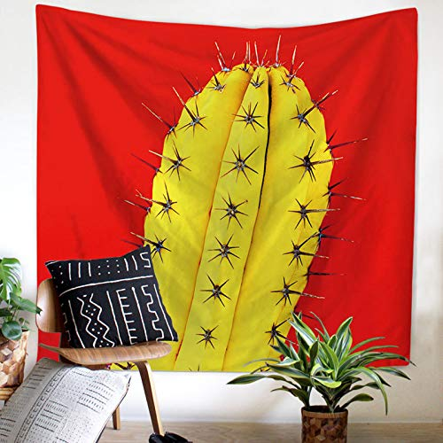 Corlidea - Tapiz de pared con diseño de cactus, estilo hippie, psicodélico, toalla de arena, tapiz, decoración de yoga, mantel grande, 130 x 150 cm