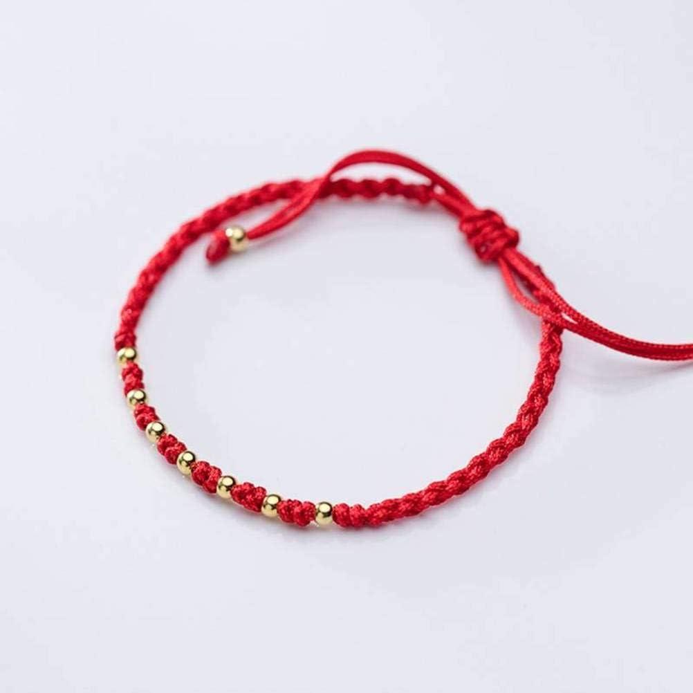 WOZUIMEI S925 Pulsera de Plata Estilo Japonés Y Coreano para Mujer, Cuentas Pequeñas de Plata Chapadas en Oro, Pequeñas Y Frescas, Pequeñas, Joyas de Hilo Rojo para MujerS925 cuerda roja plateada