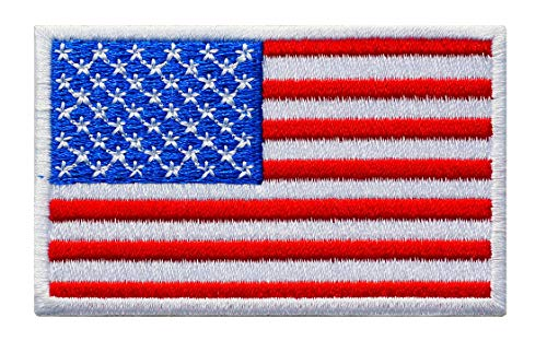 Graphic Dust 3.2x2 Inches, US USA United States of America Flag Embroidered Iron On Patch Applique American Army Military Uniform Costume White Red Blue