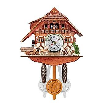 Cuckoo Shaped Clock Wooden Wall Clock Handcrafted Antique Pendulum Clock Rustic Farmhouse Clocks Home Decor Clock No Ticking Fashion Gift for Home Kids Room Decor  Multicolor
