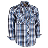Coevals Club Men's Long Sleeve Casual Western Plaid Pearl Snap Buttons Shirt (L, 10#White,Blue)