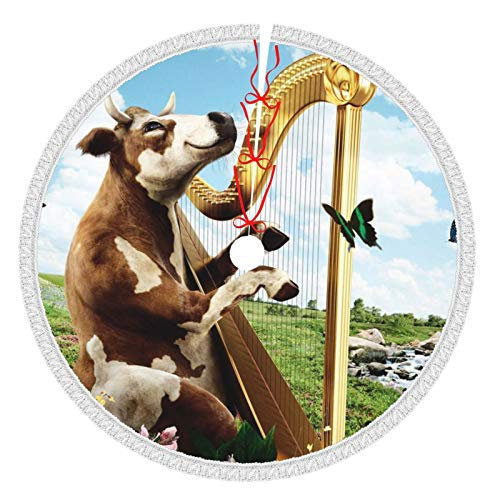 Idéal pour les articles ménagers - Jupes de sapin de Noël - 36 cm - Harp - Vache naturelle - Blanc - Jupes d'arbre - Pour Noël, l'année - Fête - Vacances - Décoration de la maison