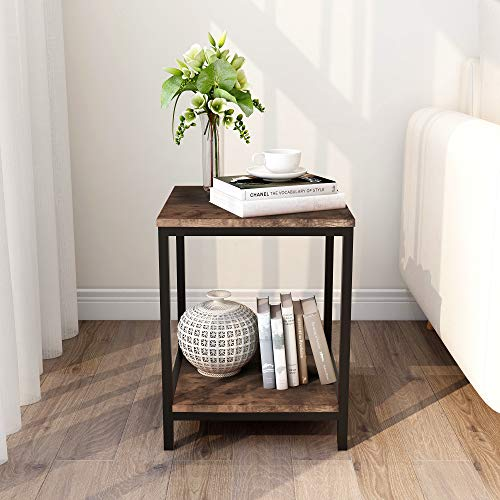 BOFENG End Table, Square Side Table Night Stand Coffee Table with 2-Tier Storage Shelf, Wood Look Accent Metal Frame Modern Furniture, Black+Brown Oak