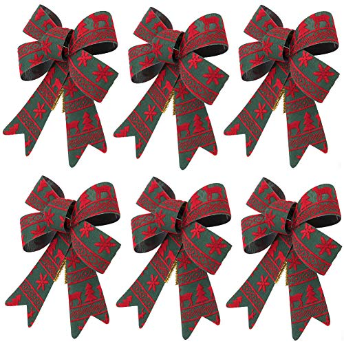 "ARCCI Christmas Bow Green with Red Reindeer, Snowflake and Xmas Tree Pattern, 5.5""x7"" Christmas Flannel Bows for Home Decoration, 6 Sets"