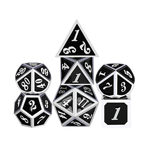 iFergoo DND Metall Würfel, 7 Stücke Polyedrischen, Spiel Würfel mit ,Puncher und für Rollenspiele D & D Pathfinder Shadowrun (Black & Silver)