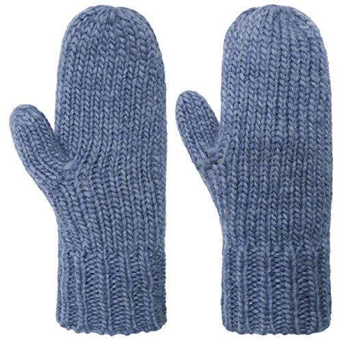 Seeberger Fäustlinge mit Fleecefutter Fausthandschuhe Damenhandschuhe Strickhandschuhe (One Size - blau)