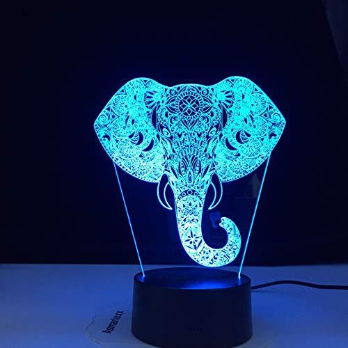 Lámpara de mesa de elefante 3D Cambio de colores Luz de noche Regalo de Navidad para niños Sala de estar Decoración de bar Luz de noche