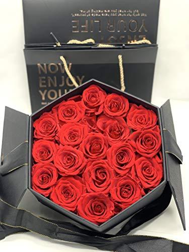 Rosas Rojas preservadas en Caja de Regalo con Lazo - Rosas eternas Regalo San Valentín - Flores preservadas en Caja Hexagonal (18 Rosas)