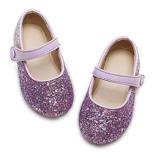 Toddler Little Girl Purple Mary Jane Dress Shoes - Ballet Flats for Girl Party School Shoes(Purple,5 Toddler
