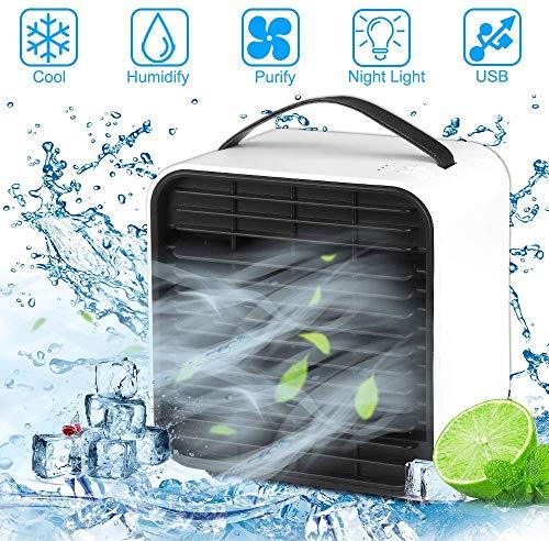 Sylanda Mini Luftkühler, USB Persönliche Klimaanlage 4 in1 Luftkühler, Ventilator, Luftbefeuchter, Lufterfrischer Mit Wasserkühlung, 3 Geschwindigkeiten für zuhause, draußen