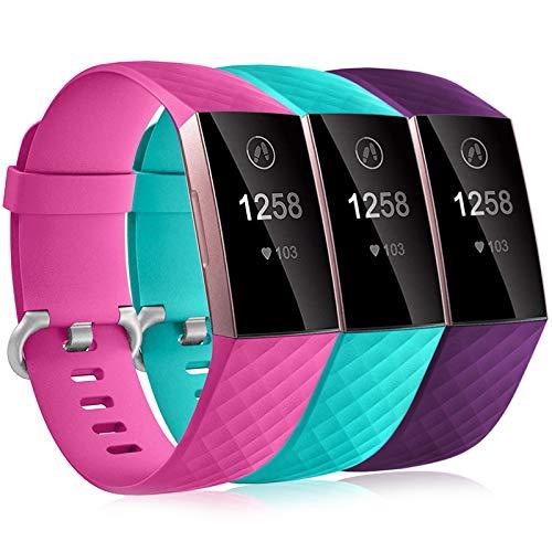 Dirrelo 3 Pack Compatible con Fitbit Charge 3/Fitbit Charge 4/Charge 3 SE Correa para Mujeres Hombres, Pulsera Deportiva de Repuesto Ajustable de Silicona Suave para, Rose+Acqua+Prugna L