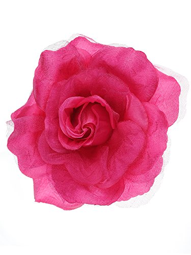 NYFASHION101 Women's Multifunction Rose Flower Sheer Petal Brooch Pin Hair Tie Clip, Hot Pink
