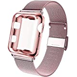 GBPOOT Compatible for Apple Watch Band 38mm 40mm 42mm 44mm with Screen Protector Case, Sports Wristband Strap Replacement Band with Protective Case for Iwatch Series 6/SE/5/4/3/2/1,44mm,Rose Gold