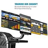Capital Sports Stream M2 Rudermaschine Rudergerät Rowing Machine, kombinierter Luft- & Magnetwiderstand, hocheffizientes Training, 16-stufiger Magnetwiderstand, Aluminium-Doppel-Gleitbahn, schwarz - 6