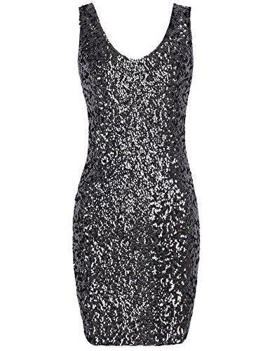 PrettyGuide–Attraktives Damenkleid, V-Ausschnitt, Paillettenbesatz, Minikleid, Club-Outfit, Cocktail-Party-Kleid, Schlauch, PG4707, Schwarz, PG4707 XS-S
