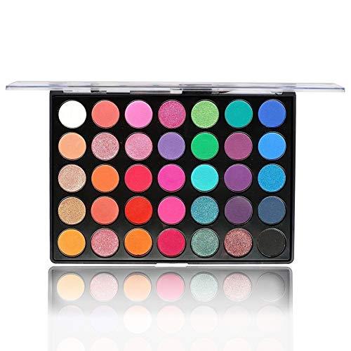 Beste Lidschatten Palette Nudetöne - Vegane Augenpalette - Eyeshadow Make Up Kosmetik - 35 Hochpigmentierte Warme Natürliche Farben in Matt + Schimmer + Glitzer