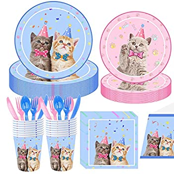 Cat Theme Party Happy Birthday Kitten Decoration Supplies Glamour Cats Party Pack for Girl Kids 16 Guests Pink & Blue Eco Friendly Biodegradable Disposable Tableware 113 Pieces