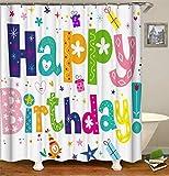 LGY Haus Dekoration. Zeichentrickfilm. Alles Gute Zum Geburtstag! Duschvorhang 180X180Cm. 3D Hd-Druck. Wasserdichtes Gewebe Freier Haken. Geben Sie 12 Haken Frei.
