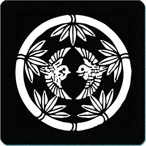 家紋 マウスパッド 上杉謙信 竹に雀(上杉笹) 15cm x 15cm KM15-3269-02W 白紋