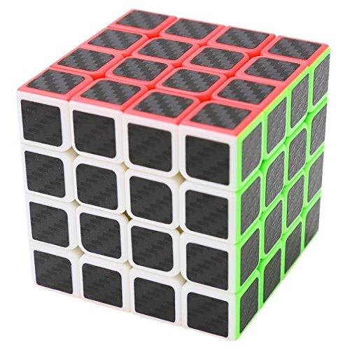 Coolzon Zauberwürfel 4x4x4 Speed Cube Würfel Carbon Faser Aufkleber Neue Geschwindigkeits Super Schnell und Glatt