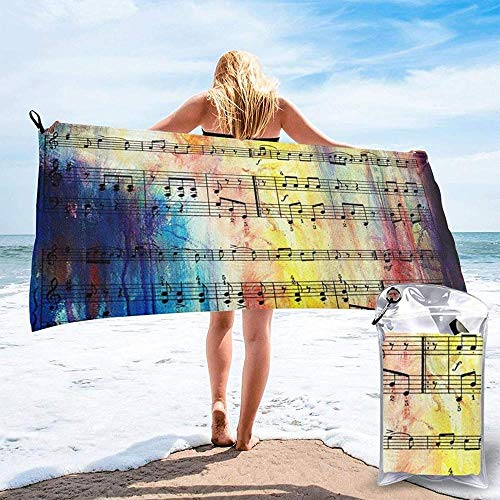 Quick Dry Beach Towel Vintage Music Note Printed Microfiber Lightweight Bath Towels Suitable For Household Children And Adults Camping Swimming Yoga-27.5'X55'