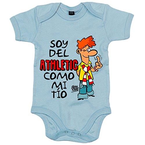 Body bebé soy del Athletic como mi tío ilustrado por Jorge Crespo Cano - Celeste, Talla única 12 meses