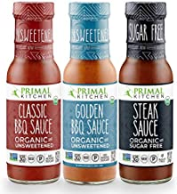 Primal Kitchen 3 Pack Organic and Unsweetned Barbeque & Steak Sauce - Whole 30 Approved, Keto, Paleo Friendly - Includes: Classic BBQ, Golden BBQ, and Steak Sauce