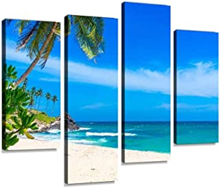 IGOONE 4 Panels Canvas Paintings - Tropical Beach in Sri Lanka - Wall Art Modern Posters Framed Ready to Hang for Home Wall Decor