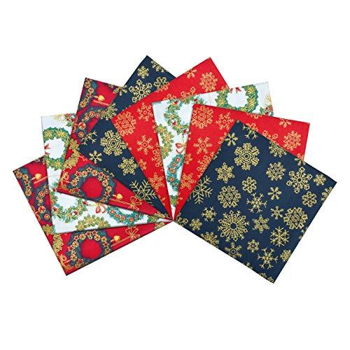 KATELUO 8 Stück Bronzierende Baumwollstoff Weihnachten, Patchwork Stoffe, Baumwollstoff Meterware für DIY Baumwolltuch Stoffe zum Nähen (25 * 25CM)