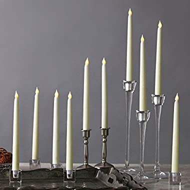 10 Ivory 10  Flameless Taper Candles, Smooth Wax Finish, Warm White LEDs, Vigil Collection, Batteries Included