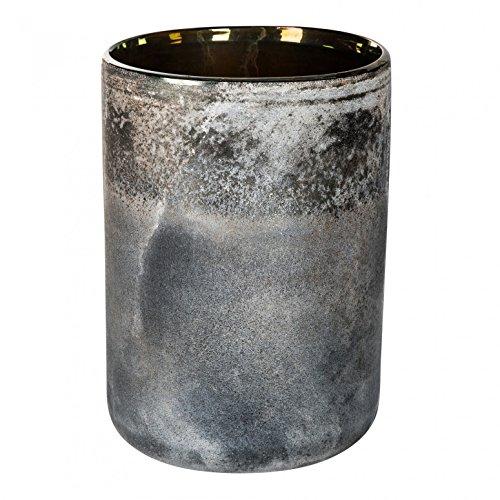 Deko Windlicht Vase Mersh black round Glass im Frozen-Look - Maße: 20.0 x 14.0 x 14.0 cm medium