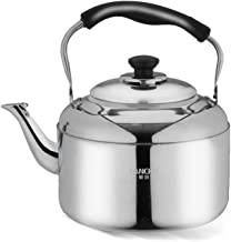 MSWL Kettle, 304 Stainless Steel Whistling Kettle, 4L5L6L Large Capacity Gas Household Induction Cooker Gas Universal, Sil...