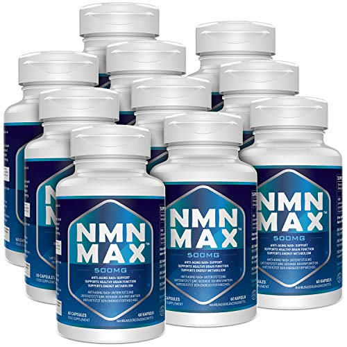 NMN Capsules with Maximum Strength- 500mg Capsule - High Absorption Nicotinamide Mononucleotide Supplement- Supports Brain Function & Anti Aging(600 Count(Pack of 10))