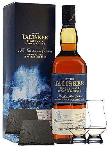 Talisker Distillers Edition 0,7 Liter + 2 Glencairn Gläser+ 2 Schieferuntersetzer quadratisch 9,5 cm