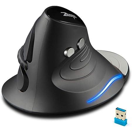 ECHTPower Ratón Vertical Inalámbrico, Diseño Ergonómico, 2.4 G Óptico, 1000-1600-2400 dpi Ajustables, 6 Botones con Reposamuñecas Extraíble-Protege el Brazo