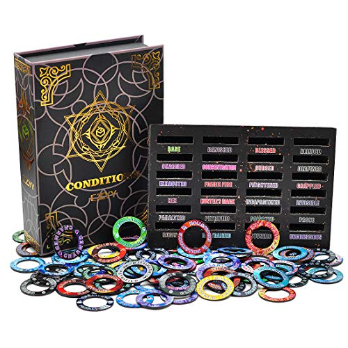 Upgraded DND Condition Rings 96 Status Effect Markers with Color Printing in 24 Conditions & Spells, and with Magic Book Storage Box Ideal Tabletop RPG Gift for DM or Player