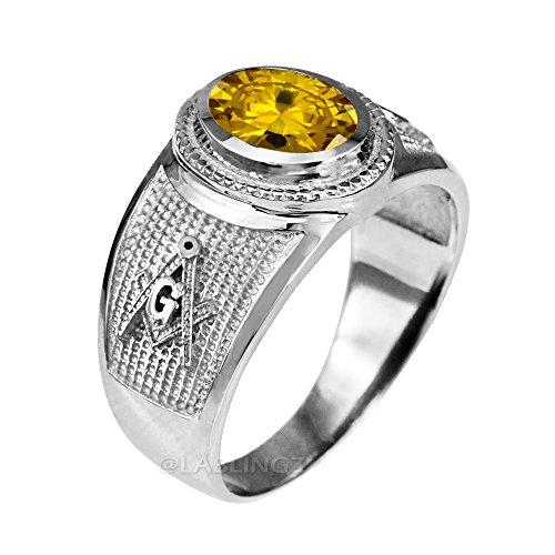 Sterling Silver Masonic November Birthstone Yellow CZ Ring (8.75)