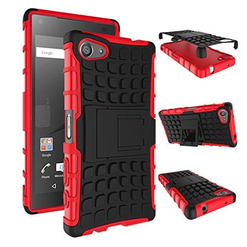 pinlu Funda para Sony Xperia Z5 Compact (4.6 Pulgada) Smartphone Doble Capa Híbrida Armadura Silicona TPU + PC Armor Heavy Duty Case Duradero Protección Neumáticos Patrón Rojo