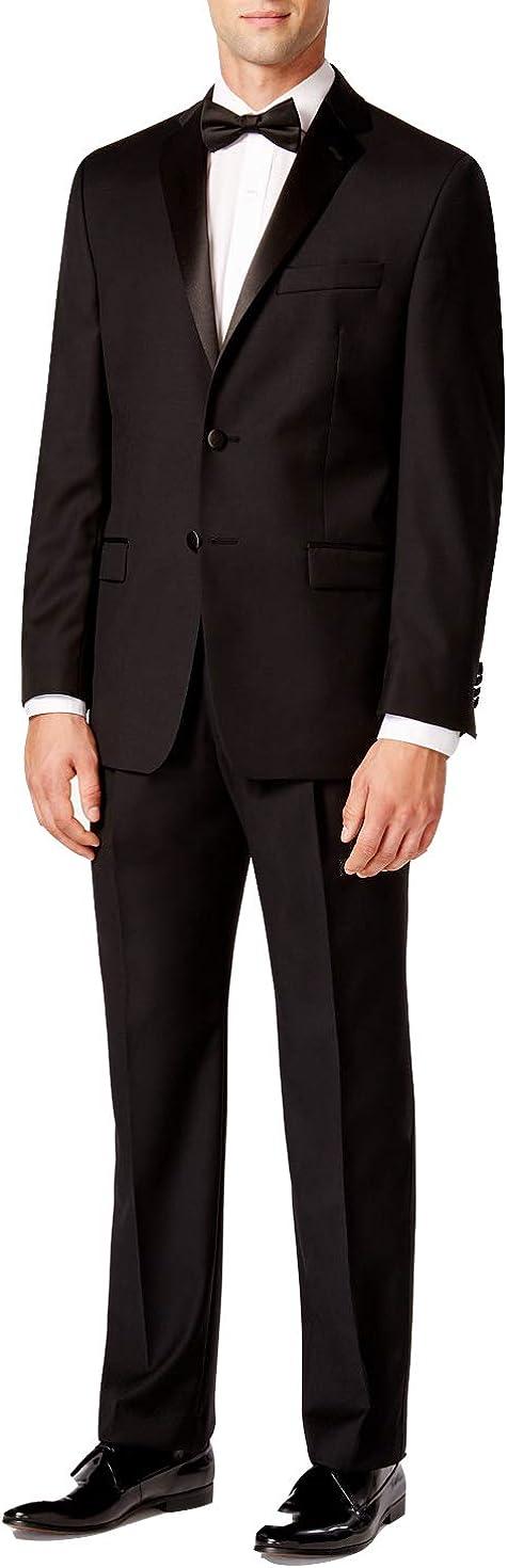 Adam Baker Men's Classic Fit Two-Button Peak & Notch Lapel Formal Tuxedo Suit Set