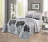 GrandLinen 3-Piece Fine Printed Oversize (115' X 95') Quilt Set Reversible Bedspread Coverlet King Size Bed Cover (Black, Gray, Grey Floral)