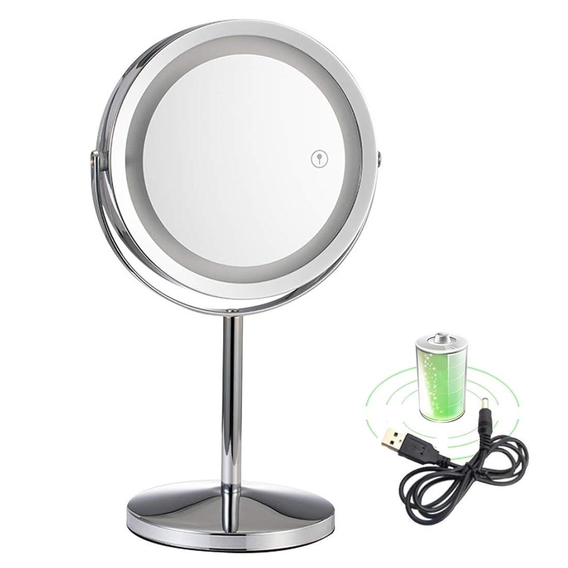 粉砕する野生送る卓上化粧台ミラー付きledライト-3倍拡大鏡ダブルミラー化粧鏡360度回転シェービングベッドルームまたはバスルーム